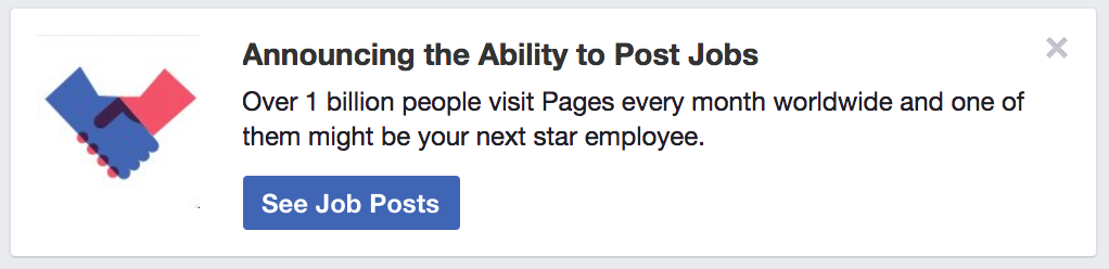New Facebook feature: job posting